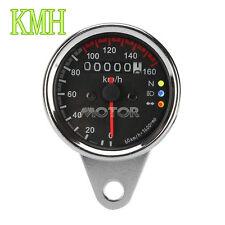 Universal Motorcycle Odometer KMH Speedometer Gauge f Harley Bobber Chopper Cafe