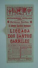 1951 Cartel Plaza de Toros Sevilla Dos Santos Carriles Domínguez Liceaga Corrida