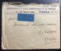 1937 Tanga Tanganyika Airmail Commercial Cover To Zanzibar