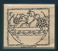 FRUIT BOWL Pear Apple Grapes Leaf HARVEST SQUASH card Stampin' Up! RUBBER STAMP