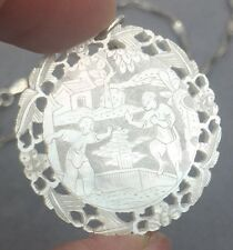Antique Chinese Mother Of Pearl Gambling Chip Pendant Necklace