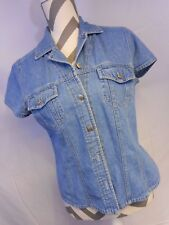 Denim Short Sleeve Button Shirt Distressed Jean AT Medium 100% Cotton Womens