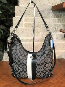 COACH HERITAGE SIGNATURE STRIPE HOBO 14476 BAG HANDBAG PURSE BAG COATED CANVAS