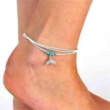 Women Boho Style Pendant Turquoise Mermaid Tail Multi-layer Beaded Ankle Chain-
