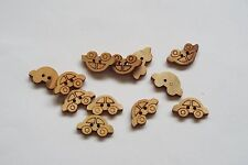 10pc 20mm Untreated Wooden Car Shaped Craft Button 0951