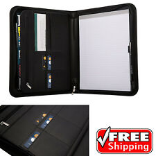 Padfolio Leather Organizer Pad Zippered Portfolio Holder Letter Size Zipper Case