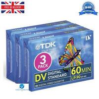 3 TDK DVM60 LP:90 60 Minute Blank Tape Cassettes for MiniDV Camcorders BRAND NEW