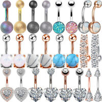 Hot CZ Opal Navel Button Ring Surgical Steel Bar Belly Ring Body Piercing 14G