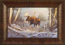 ON THE MOVE by Terry Doughty Moose Bull Snow Trees 11x15 FRAMED PRINT PICTURE