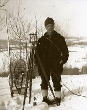 Vintage Survey Transit Antique Surveying With Snowshoes Old Time Surveyor