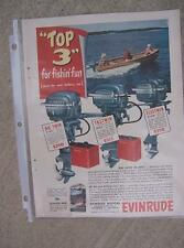 1951 Evinrude Big Twin Fastwin Fleetwin Outboard Motor Color Full Page Ad Boat H