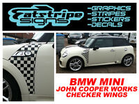 MINI GRAPHICS CAR VINYL STICKERS DECALS STRIPES CHECKER r56 r53 JCW ONE 1.6