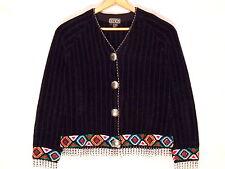 Berek 2 by Takako Sakon VTG black Southwest sweater coat / Small / great / b39