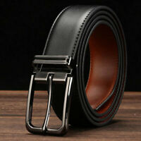 Men's Genuine Leather Casual Dress Belt Pin Buckle Waist Strap Belts Waistband