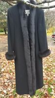 100% Lambswool Full Length Coat Women's Black Maxi Fur Trim Marvin Richards Sz 8
