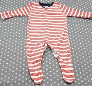 Baby Boys Primark Orange Striped Babygrow Newborn Sleepsuit Babygro Romper