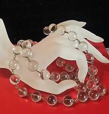 "1930s DECO Period POOL-OF-LIGHT ROCK CRYSTAL QUARTZ 50 Orbs NECKLACE 40"" long"
