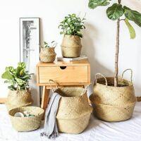 Handmade Seagrass Belly Basket Flower Plant Planter Pot Home Garden Decor S/M/L