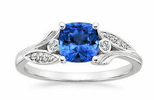 Cushion Cut 1.75Ct Natural Diamond Real Blue Sapphire Ring Size 8 14K White Gold