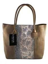BUCO North/South Suede and Leather Tote Bag Handbag Taupe Jesselli Couture