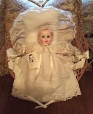 Vintage Gerber Baby Doll In Christening Gown w/ Basket, Bedding & Tags