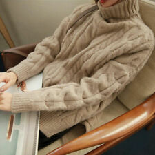 Women Cashmere Turtleneck Twist Winter Warm Sweater Jumper Pullover Coat
