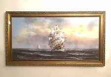 VINTAGE OIL ? PAINTING SHIP AT SEA R BOREN ( RICHARD BOREN ?) 48 x 24 UNFRAMED
