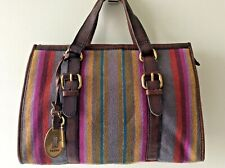 FOSSIL real leather and pure wool ladies stripey tote doctor style handbag