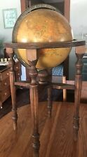 "Rare Antique 12"" Terrestrial Globe On Wooden Stand 30"" Tall Philips Philip & Son"