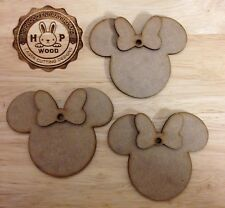 3D Disney Minnie Mouse Heads X10 MDF, Blank, Shapes, Decoration, Wooden