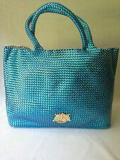 Juicy Couture Tote Beach Bag Shopper Woven PVC X Larger Blue Multi Purpose