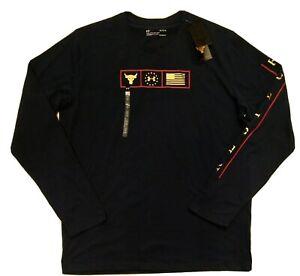 Men's Under Armour Project Rock Respect Graphic L/S Shirt Navy Large 1346108-408