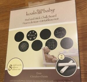 Chalk Board Wall Decor Peel & Stick Set 8 Black Circle Dots 2 Chalk Koala Baby