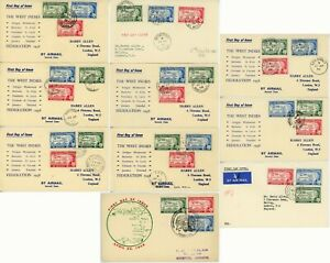 British West Indies Federation 1958 FDC First Day Cover Postage Stamp Collection