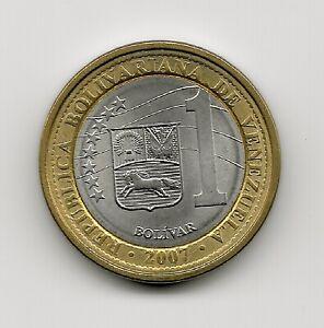 World Coins - Venezuela 1 Bolivar 2007 Bimetallic Coin Y#93