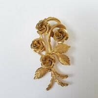 Coro Textured Gold Tone Rose Brooch Floral Pin Bouquet Flowers Satin Leaves Vtg
