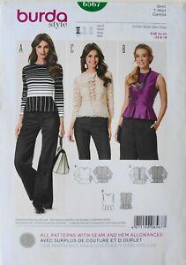 Burda 6567 Misses Tops Shirts Camisa Sewing Pattern Sz 8-18
