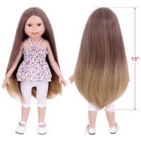 """15'' Brown Doll Wig Fit 18"""" American Girl Doll AG OG Gotz Journey Girl Hair"""