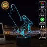 FLY FISHING MAN CAVE TROPHY 3D Acrylic LED 7 Colour Night Light Touch Table Lamp