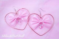 Sweet Heart Bow Kawaii Lolita Harajuku Cute Heart Hoop Crystal Wire Wrap Earring