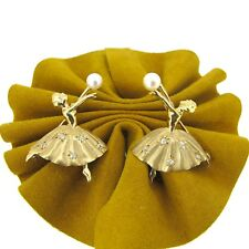 Two 14k Yellow Gold Color Ballerinas Pin Matching Diamonds/Pearls Brooches