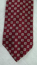 Brooks Brothers Silk Neck Tie - Red with Silver Woven Square Pattern