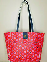Tommy Bahama Reversible Tote Bag Purse Floral Print or Navy Blue With Wristlet