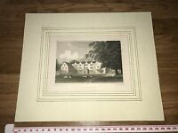 OAKLEY NORTHAMPTONSHIRE Antique Hand Coloured Mounted Print Engraving 25x21cm