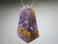 Amethyst with Cacoxenite Purple Gemstone Focal Bead Natural Crystal Pendant Drop
