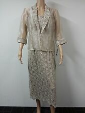 NEW - R & M Richards - Sleeveless Dress and Jacket - Size 12P - Light Beige $129