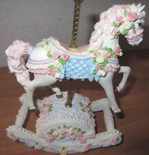 Musical Carousel Porcelain Horse with Flowers- Rocks When It Plays