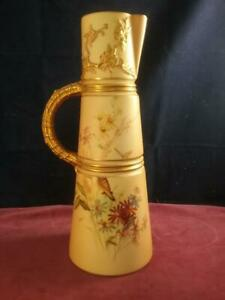 Stunning Antique Royal Worcester Blush Ivory Claret  Jug Shape 1047 Date 1900