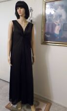 LUCIE ANN Nylon vintage NWOT KEYHOLE GRECIAN Nightgown BLACK size L large