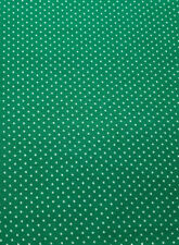 """1 Yd. x 46"""" Medium Green Cotton Blend Fabric with White Dots"""